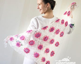 Crochet Wedding Shawl with Pink Flowers. Laced Bridal Knitted Shawl.