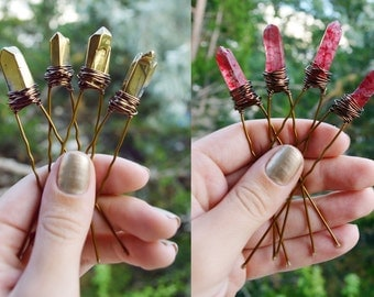 Red and Gold Quartz Crystal Hair Pins, Crystal Hair Accessories, Wedding Bridal Hair Pins