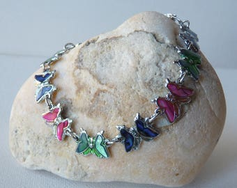 Vintage Abalone Shell Inlay Silver Tone Butterfly Link Bracelet, Girls Bracelet,Small Retro Abalone Bracelet, Blue Green Paua Shell Bracelet