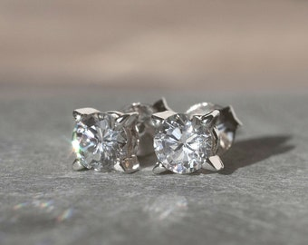 Diamond Earrings, Cubic Zirconia Earrings, CZ Stud Earrings, Cubic Zirconia Stud Earrings, Sterling Silver Earrings