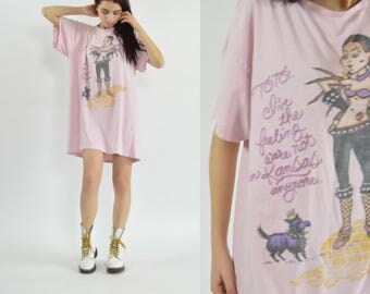 90s pink wizard of oz Dorothy toto t shirt sleep shirt dress   90s vintage distressed wizard of Oz long t-shirt dress   One size