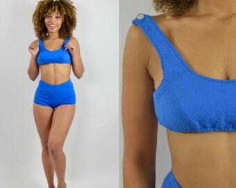 Lace swimsuit - Blue swim suit - two piece - High waist- Swim suit - 1950s vintage - Boy shorts - Bathing suit -  S / M