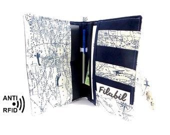 RFID family passport holder | passport wallet | family travel wallet | boarding pass holder | world map mappemonde | 2 - 4 passports