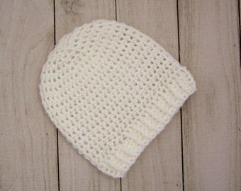 White baby beanie hat - Crochet baby hat for newborn to 12 Months, Great as coming home hat
