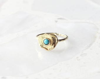 R1044 - New Gold Brass Plate with Turquoise Center Ring
