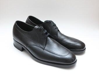 Deadstock Vintage 60s Florsheim Country Grain Moc Toe Black Leather Dress Shoes Size 7D