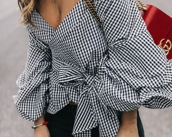 Emma Wrap Top with Ruffle Sleeves - Check Black and White - 100% Cotton Shirt, Ruffled Shirt, Puff Sleeves trending clothes Minimalistic