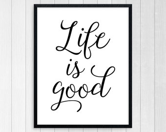 PRINTABLE ART, Life Is Good, Motivational Poster, Believe, Inspirational Quote, Black and White, Typography Art, Live Life To The Fullest