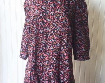 Navy Blue Floral Print Mid Length Dress with Ruffled Hem