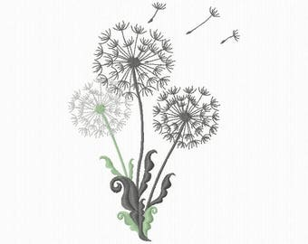 Embroidery pattern of flowers of dandelion for machine embroidery format 5 x 7