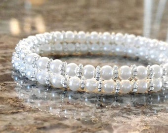 Double Stranded Pearl Bracelet, Pearls and Silver, Beaded Bracelets, Pearl Bracelets, Double Stranded Bracelets, Pearls, Pearl Bracelets