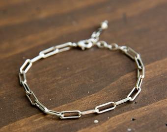 Silver Rectangle Link Bracelet, Chain link bracelet, Casual Bracelet, Everyday Bracelet, Minimalist Bracelet, Birthday GIft, Modern Bracelet