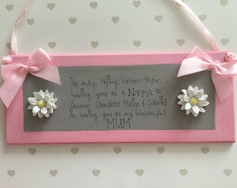 "10x4"" MOTHERS DAY/NANNA personalise with children's names"