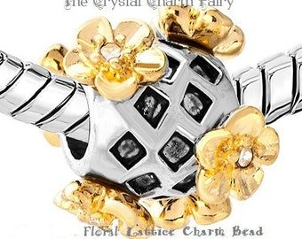 Outstanding FLORAL LATTICE Silver / Gold Charm Bead LIMITED Supply Fits / Big Hole / European Beads / Pandora / Bracelet / Necklaces