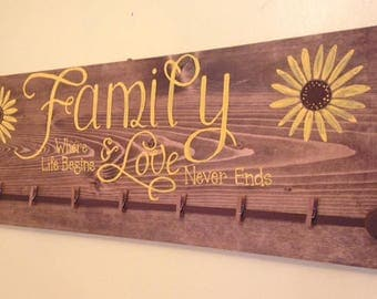 Sunflower/Family/Love/Photo/Stained Board