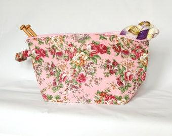 Extra large project bag in pale pink rose print; zip knitting project bag, crochet bag, yarn bag, make up bag,