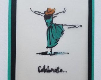 Birthday Celebration Card - Handmade Homemade w/envelope
