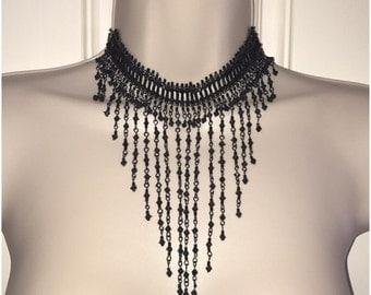 Jet Black Bead Chain Fringe Choker Bib Statement Necklace