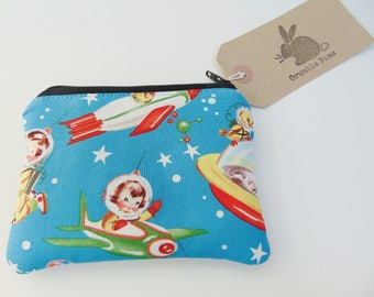 Handmade Retro 1950's Style Space Coin Purse, Kitsch Rockets and Stars Vintage look Coin Wallet or Pouch