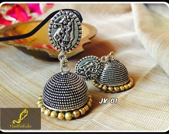 Oxidized Silver Long Earrings, Ethnic Style, Jhumkas