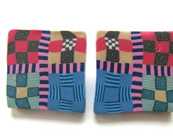 Earrings, polymer clay, post earrings, 44x46mm, geometric design, pink, blue, beige B-1392