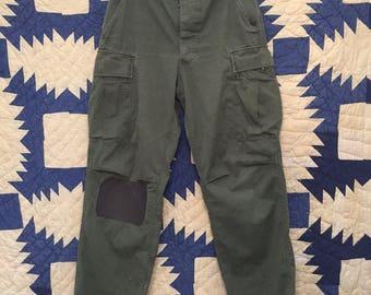 Vintage 1966 Vietnam War Poplin OG 107 Jungle Fatigue Pants Size 30x29(Measured)