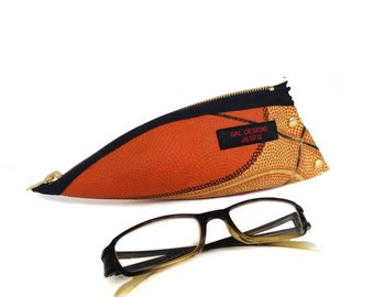 Spectacle case, Upcycling Asccessoir, boy 16 gift, brother gift, pencil pouch cool, Pencil case orange, teen, basketball, school, boyfriend