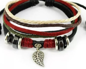 Black Leather Leaf Charm Bracelet