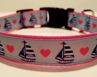 Sailboats & Hearts Dog collar