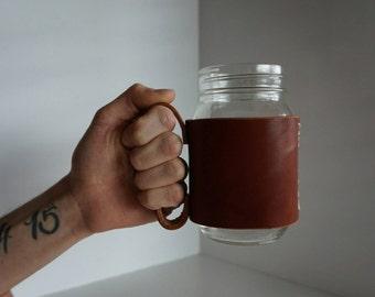 Leather Mason Jar Mug Handle in Chestnut Bridle. Bell Jar Handle. Latigo Leather Handle. Jar mug. Leather Jar Holder.