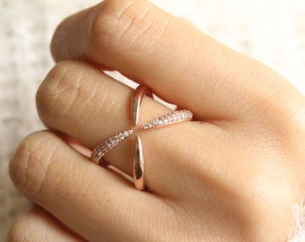Criss Cross Ring Rose Gold Cross Paths Ring Open Criss Cross Ring Friendship Ring Criss Cross Pave Diamond Ring X Ring Rose Gold Pave X Ring
