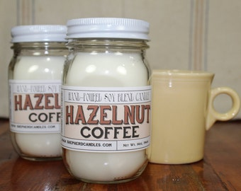 Soy Candles Handmade, Hazelnut Coffee, Coffee Candle, Housewarming Gift, mason jar candle, gifts for women, gifts for men, party gift