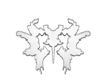 Mirror acrylic butterfly rorschach ink blot shape brooch