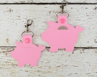 Piggy Bank Quarter Keeper Keychain - Bag Tag - Small Gift - Gift for Her - Thank You Gift - Bag Accessory - Zipper Pull