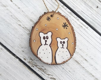 Polar Bear Ornament Wood Slice Hand Painted Rustic Tree Ornament Hanging made to order, quantity discount, Holiday Christmas Ornament