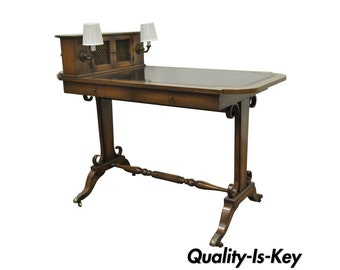 Vintage Petite Regency Leather Top Mahogany Writing Desk Hall Table w Sconce Lights