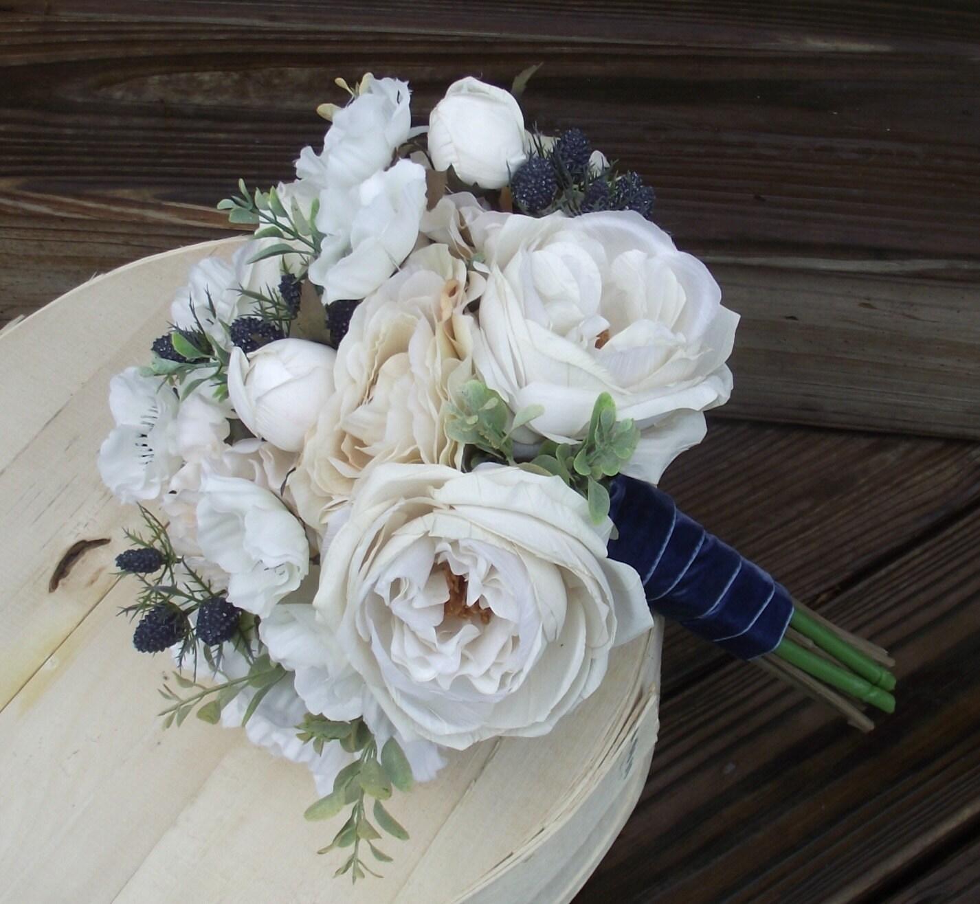 Beach Wedding Flowers Nautical Sea Holly Navy Blue