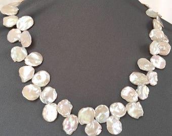 Keshi Pearl Choker - White Keshi Pearls - Baroque Pearl Choker - Pearl Bridal Jewelry - Keshi Pearl Necklace- Freshwater Pearls- Anniversary