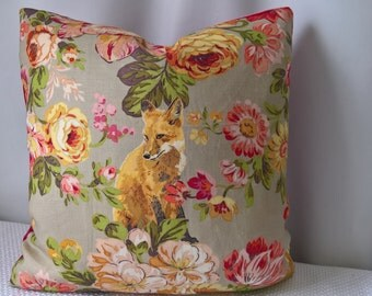 "Lee Jofa Mulberry Home Fox Hollow Austrian Linen, Pink Velvet Back Custom Pillow 18""x18""!"