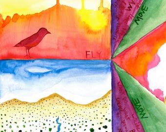 Fly~ Original Watercolor Painting Art Print~ Birds~Desert~Southwest