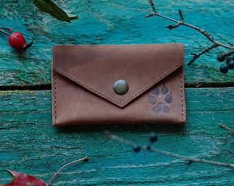 Leather coin pouch - purse - card holder