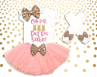 Baby Girl Clothes Oh for Peeps Sake! Easter Tutu Set, First Easter Outfit, Baby Girl Easter Tutu Set, Easter Bunny Tutu Set, Easter Outfit