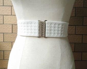 2 inch Off White belt,Elastic belt,Stretch Belt,Cinch BeltWaist belt, Elastic waist belt,Waist belt -(JF)000-1