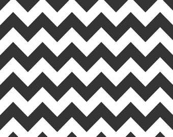 Riley Blake BLACK, Medium Chevron sold by the yard