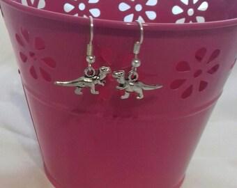 Dinosaur Drop Earrings, Dino Dangle Earrings, Alternative Fashion Jewellery, Dino Lovers Gift, Long Neck Dino Jewelry, Unique Earrings