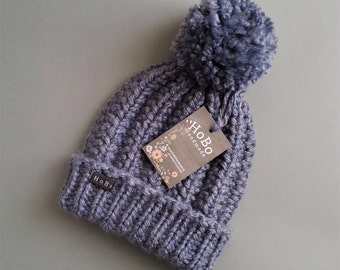 Denim Blue Bobble Hat. HoBo Handmade thick chunky hand knit beanie with extra large removable pom pom. Premium Acrylic. Mans or womens hat