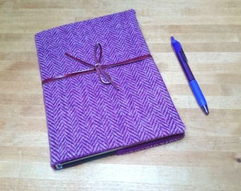 Harris Tweed Boswell Bujo Notebook Cover A5 size Radiant Orchid Mauve Herringbone with Leather Wrap Tie Handmade writing journal wedding