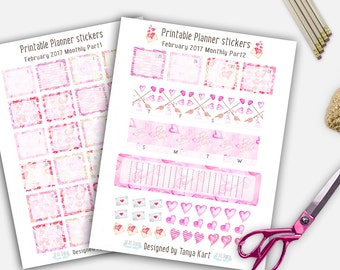 February planner Stickers, Printable Planner Stickers, Valentine Planner Stickers , Erin Condren Planner Stickers, Love Stickers, Hearts