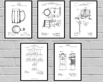Beer Patents SET of 5 Prints, Beer Poster, Beer Patent, Beer Print, Beer Art, Beer Decor, Beer Blueprint, Beer Sign, Beer Wall Art, sp470