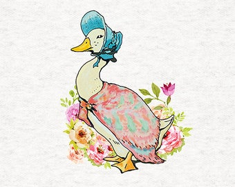 Peter Rabbit | Upholstery | Sewing | Craft | Printed Fabric Panels - Jemima Puddle-Duck| 8x8 inch, 12x12 inch